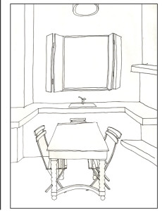 coloring architecture drawing page